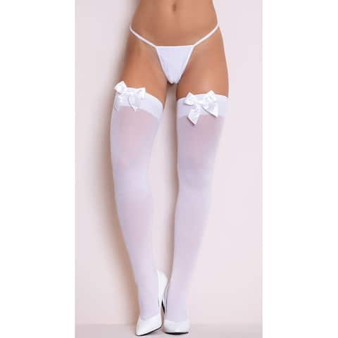 Thigh Highs with Satin Bow, Thigh High Stockings with Satin Bow - One Size Fits Most