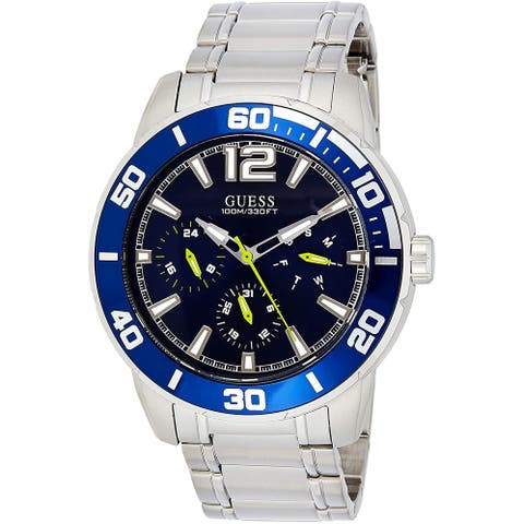 Guess Men's W1249G2 Trek Stainless Steel Watch With Blue Diel - 1 Size