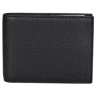 "Gucci Men's 333042 Black Textured Leather Logo Bifold Wallet W/Removable ID - 5"" x 3.75"""