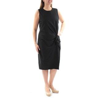 RALPH LAUREN $225 Womens New 1578 Black White Pinstripe Sheath Dress 14 B+B