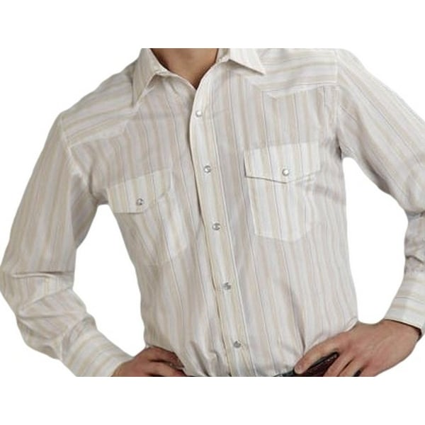 Shop Roper Western Shirt Mens L S Stripe Snap White - Free Shipping On  Orders Over  45 - Overstock.com - 15446559 b4161fdc77be