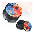 Colorful Yin Yang Print Black Acrylic Flat Screw Fit Plug (Sold Individually) - Thumbnail 0