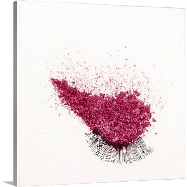 """""""Pink face powder and false eye-lashes, close up"""" Canvas Wall Art"""