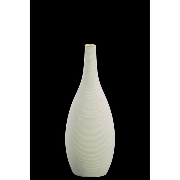 Ceramic Round SM Combed Vase with Small Mouth and Bellied Bottom, White
