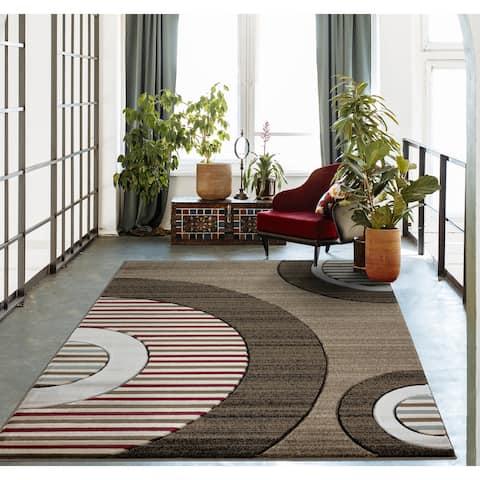 Glamour Collection Geometric Polypropylene Area Rug