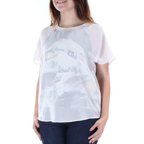 KIIND OF Womens White W/over Lay Printed Cap Sleeve Jewel Neck Top Size: S