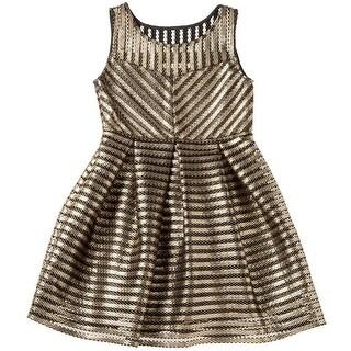 Designer Kidz Girls Black Gold Stripe Skater Junior Bridesmaid Dress