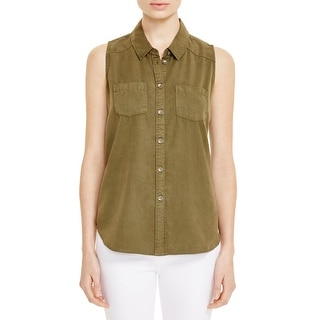Paige Womens Button-Down Top Sleeveless Pocket - s