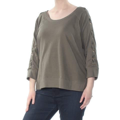 RALPH LAUREN Womens Green Lace Up Sleeve French Terry 3/4 Sleeve V Neck Top Plus Size: XXL