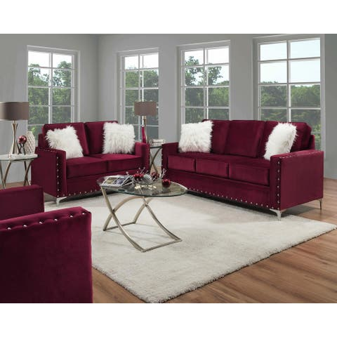 SofaTrendz Dratini Plum Sofa & Loveseat Set