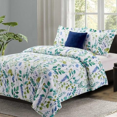 Garden Party 4pc Comforter Set 100% Microfiber Polyester- Includes 1 Comforter + 2 Shams + 1 Pillow- Machine washable-Queen