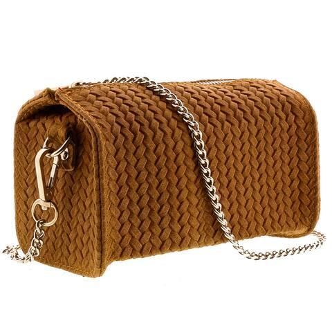 HS1152 CU PIA Tan Leather Wristlet/Crossbody Bag