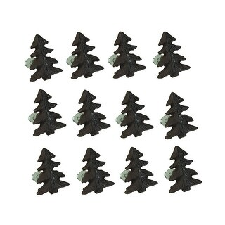 Rustic Brown Woodland Pine Tree 12 Piece Cast Iron Drawer Pull Set