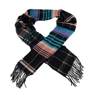 Black / Coral / Blue 100% Plaid 100% Cashmere Winter Scarf