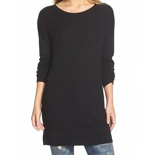 Caslon NEW Black Women's Size Medium M Ribbed Knit Tunic Sweater