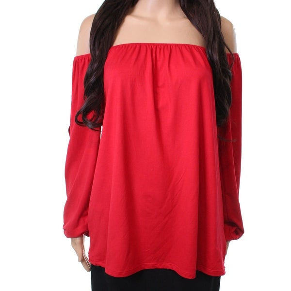 4f63555a0d4 Shop Pleione Red Women s Size Medium M Off Shoulder Split Sleeve Top - Free  Shipping On Orders Over  45 - Overstock - 26922380