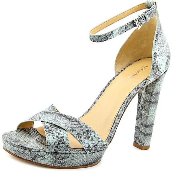 Michael Michael Kors Divia Ankle Strap Women Open Toe Leather Blue Sandals