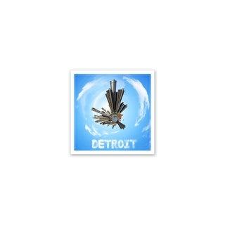 Detroit - City Planets - 12x12 Matte Poster Print Wall Art