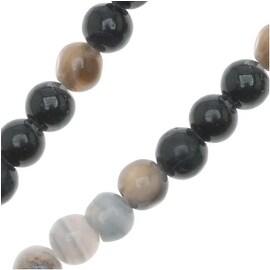 Black And White Botswana Agate 4mm Round Beads 15.5 Inch Strand