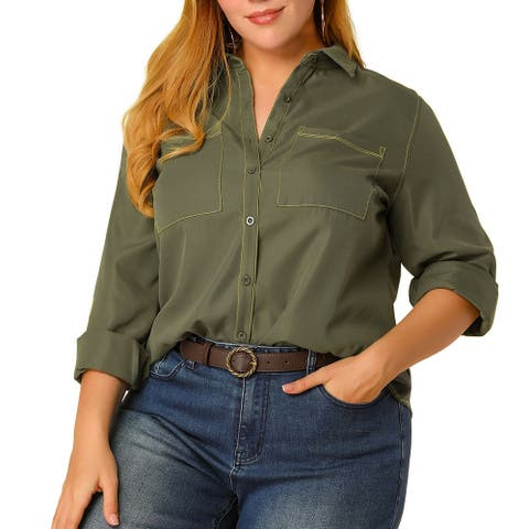 Women's Plus Size Tops Color Block Chest Pockets Button Down Shirts - Green