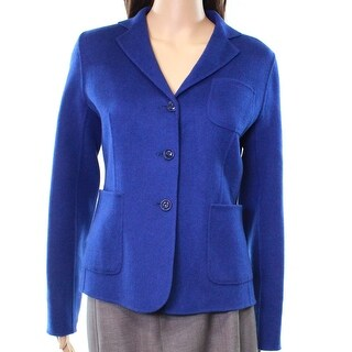 Max Mara NEW Blue Women's Size 8 Three-Pocket Button Jacket Wool