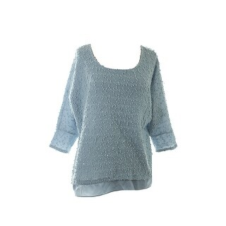 Alfani Blue Textured Sequin Layered-Look Sweater S
