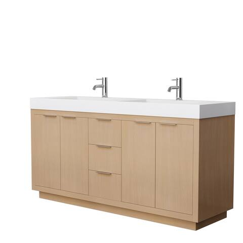 Maroni 72-Inch Light Straw DBL Vanity, 4-Inch Thick Solid Surface Top