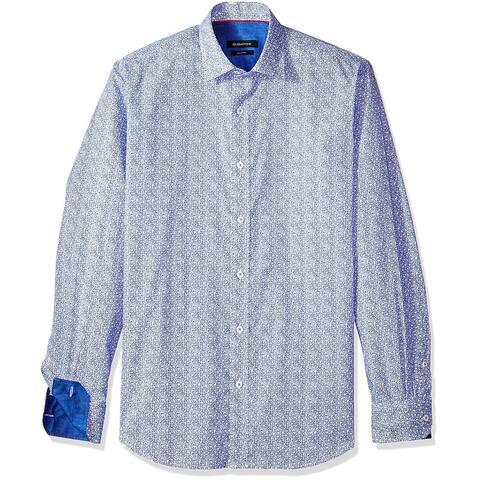 Bugatchi Mens Shirt Blue Size Large L Button Down Floral Print