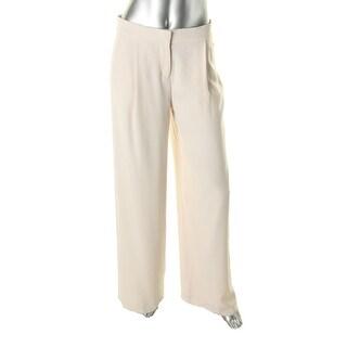 DKNY Womens Satin Trim Pleated Wide Leg Pants - 2