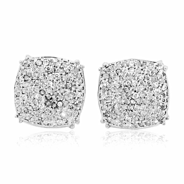 Diamond Earrings For Men 0.32cttww Pave Set Cusihion shaped Large 9.5mm Wide(0.32cttw) By MidwestJewellery - White