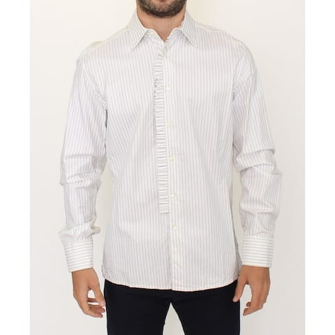 Ermanno Scervino White Striped Cotton Formal Dress Shirt - it41-l