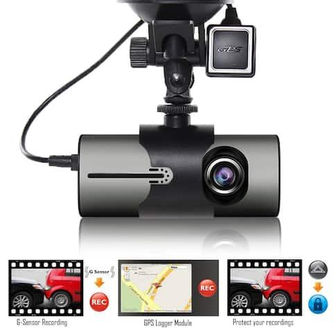 "Indigi® NEW XR300 CarDVR DashCam DualCamera(Front+Rear) Recorder with 2.7"" Split LCD w/ GPS Tracker & 32gb microSD included"