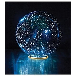 Lighted Mercury Glass Ball Sphere - Blue - Small