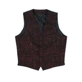 INC Black Burgundy Mens Size Large L Slim Fit Jacquard Metallic Vest