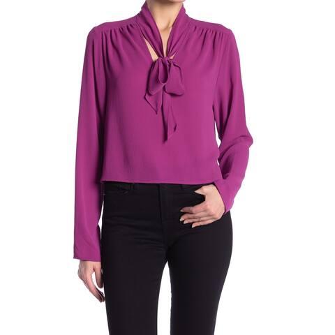 Free Press Womens Purple Size Large L Tie-Neck V-Neck Pleated Blouse