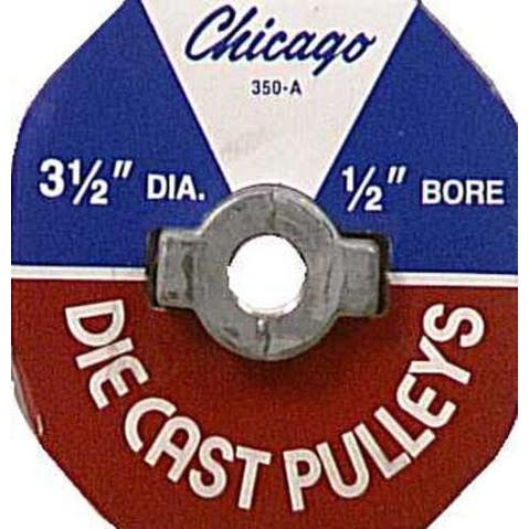 """Chicago 350A Single V-Grooved Pulley, Zinc Die Cast, 3-1/2"""" X 1/2"""""""