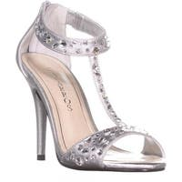 Caparros Esther T-Strap Evening Sandals, Silver Metallic - 6.5 us