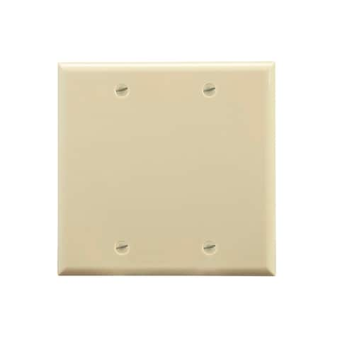 Monoprice 2-Gang Blank Wall Plate - Ivory for Home ,Office, Personal Install