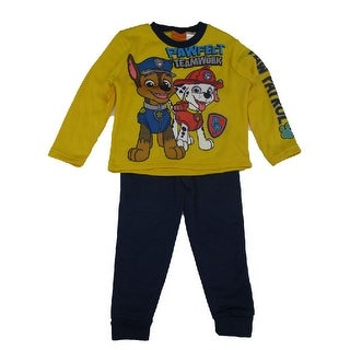 Nickelodeon Boys Yellow Royal Blue Paw Patrol Long Sleeve 2 Pc Outfit
