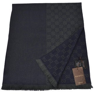 "Gucci 344994 Wool Ombre Blue Green GG Guccissima Scarf Muffler - measures 70"" x 15"""