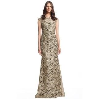 David Meister Cap Sleeve Metallic Formal Evening Gown Dress