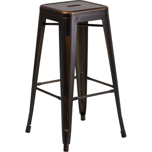 Brimmes 30'' High Backless Distressed Copper Metal Indoor/Outdoor/Patio/Bar Barstool
