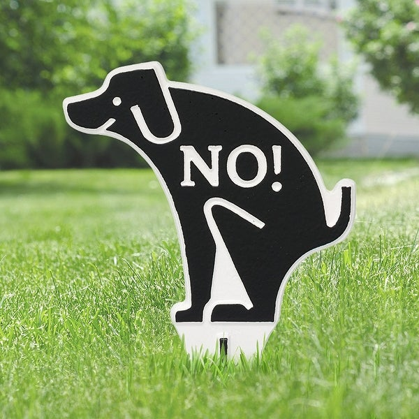 Whitehall No Poop Dog Silhouette Cast Aluminum Yard Sign (Black/White)