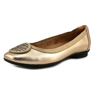 Clarks Narrative Candra Blush Women W Square Toe Canvas Gold Flats