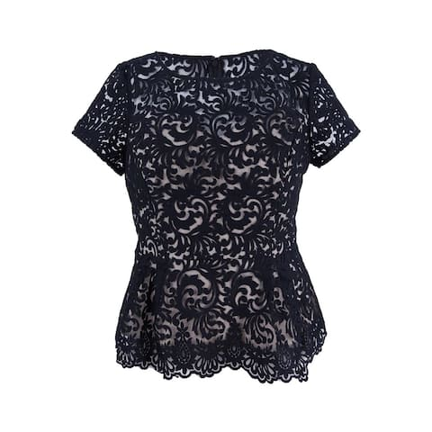 Alex Evenings Women's Embroiderd Peplum Blouse