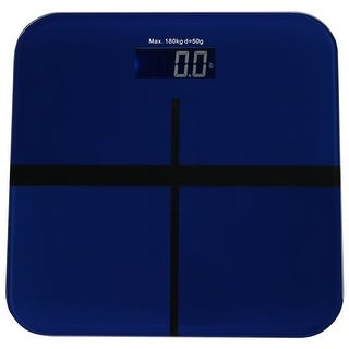Sunnydaze Electronic Digital Glass Bathroom Scale with Step-On Technology and LCD Display, Blue