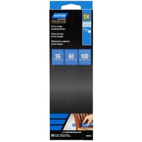 "Norton 07660782078 Extra Large Sanding Sticks 9""X1""X1"", Assorted"