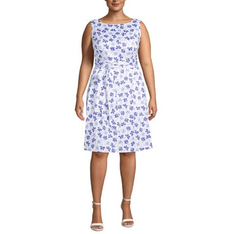 Anne Klein Womens Plus Fit & Flare Dress Floral Sleeveless - Rainshadow Combo