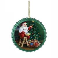 "4"" Retro Santa Claus Green Decoupage Glittered Bottle Cap Christmas Ornament"