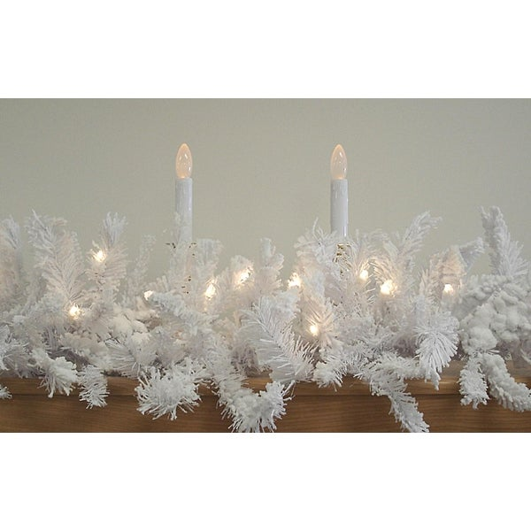"""9' x 14"""" Pre-Lit LED Flocked White Spruce Christmas Garland - Warm Clear Lights"""